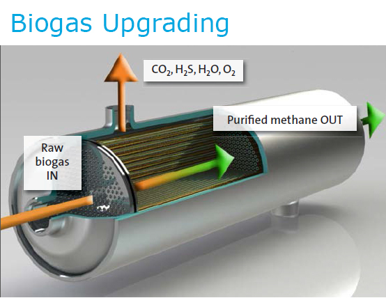 Membrane technology is one commercial option for upgrading biogas to pipeline quality biomethane